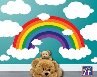 Rainbow Wall decal - Rainbow Decal  - Nursery Rainbow with Clouds - Kid's room Decor - Bedroom Playroom decor - Toddler bedroom  Wall decal