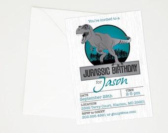 Jurassic World, Jurassic Park Dinosaur Birthday Party Invitation - Printable T-Rex Party, Dinosaur Fossil, Dino Dig