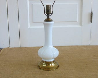 Vintage White Lamp, White Glass Lamp, Mid Century White Lamp, Milk Glass  Lamp