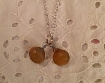 Double Faceted Amber Chalcedony Teardrop Briolette Pendant Necklace