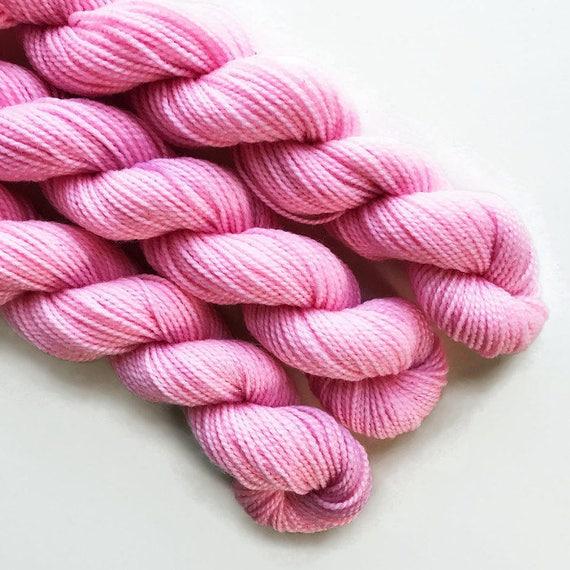 ballet / hand dyed yarn / mini skein / sock fingering yarn / merino wool superwash / embroidery / 4 ply / sparkle / pale baby pink yarn