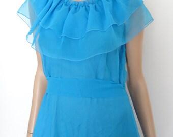 vintage 70's size 42 - uk 14 - us 10 long blue dress