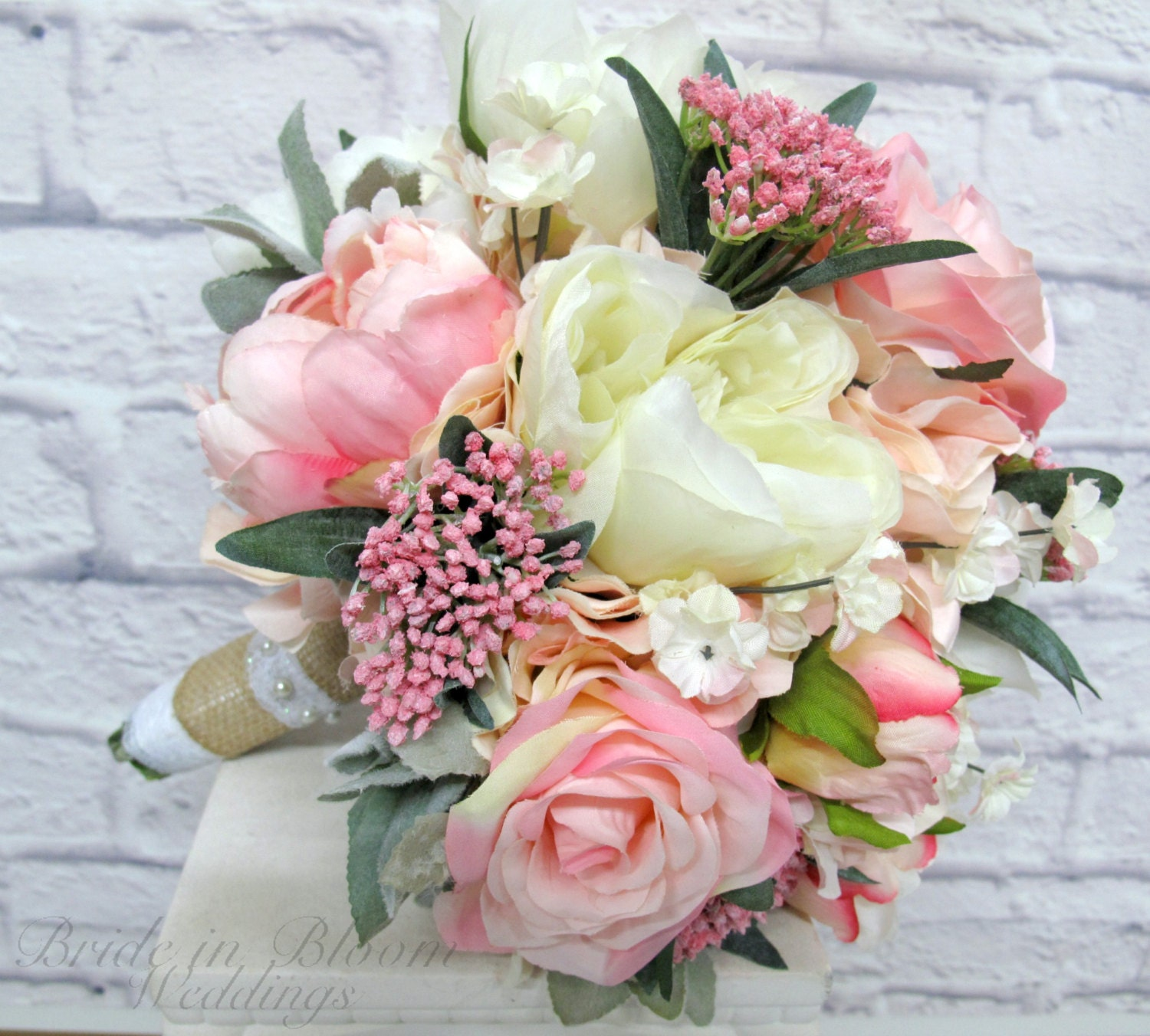 Romantic Wedding Bouquet Pink Cream Peony Rose Bridal