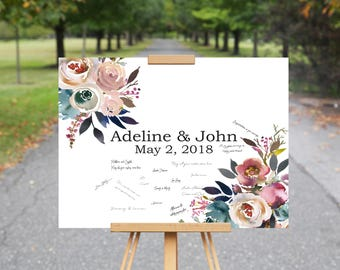 Guest Book Wedding Alternative, Floral Wedding Guest Book Alternative, Dusk Blue Wedding Flowers