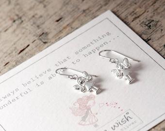 Fairy Sterling Silver Earrings, Fairy Drop Earrings, Sterling Silver Fairy Earrings, Faerie Earrings, Faerie Silver Drop Earrings,Cute Fairy
