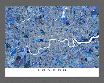 London Art, London Map Print, London UK England, City Maps
