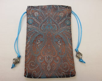 Teal and Chocolate Brocade Fully Lined in Silk Tarot Pouch, Tarot Bag 4.25 x 7.25