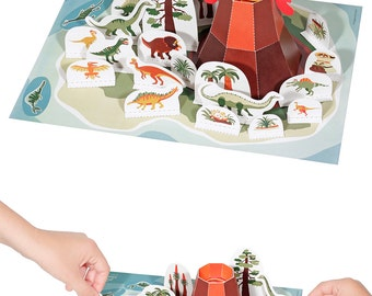 Dinosaur Island Paper Toy - DIY Paper Craft Kit - 3D Model Paper Figure - Papercraft Kids