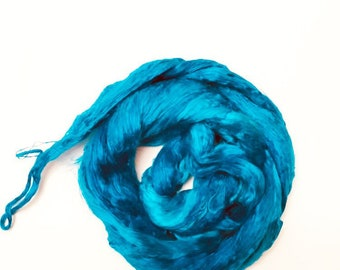 Hand-Dyed Silk Bricks A1 quality. 100% Silk Fiber known as Mulberry Silk for Felting, Spinning, Knitting, Turquoise , Nuno Felt, Fiber Art.