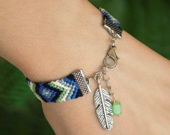 Southwest native feather bracelet, Raw jadeite friendship macrame, Celadon nomad ethnic jewelry, Aztec navy blue chevron, Tribe woven cotton