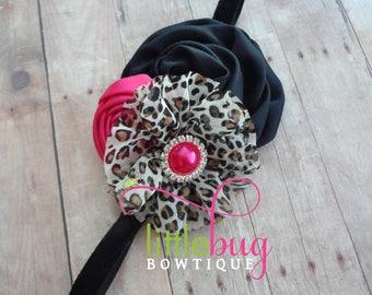 Leopard Headband, Pink Black Headband, Pink Headband, Black Headband, Cake Smash, First Birthday, Girls, Baby, Toddler, Birthday, Shabby
