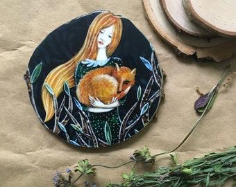 Fox decor, woodland nursery, ginger hair, sleepy fox, shellieartist, baby shower gift, gift for her, mounted print, wood slice