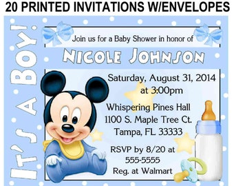 Items similar to mickey mouse baby shower invitations on etsy 20 baby mickey mouse baby shower invitations with envelopes free shipping filmwisefo Images