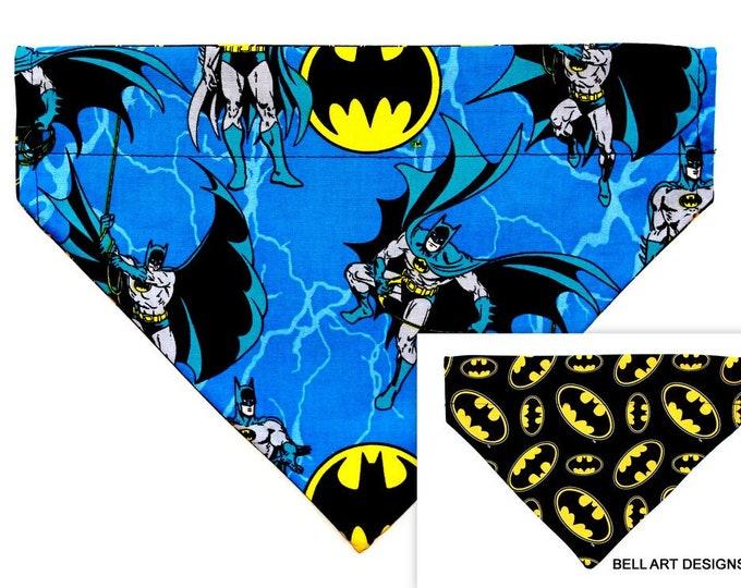BATMAN ~ Over the Collar ~ Reversible ~ Dog Pet Bandana ~ Bell Art Designs ~ Large DCL696