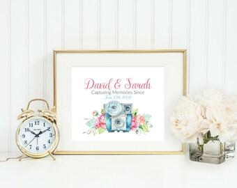 Custom Wedding Anniversary Print - Camera Print - Wedding Gift - Personalized Wedding Gift - Bridal Shower Gift - Established-Name-Year