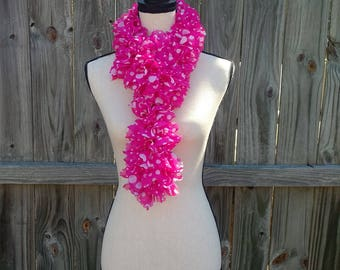Ruffled Pink Fabric Scarf, Lightweight Scarf for Spring, Valentine's Gift for Her, Pink White Polka Dot Scarf, Frilly Fabric Scarf, Fashion