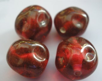 4 Vintage Glass Beads Handmade Japanese Cranberry Dimpled Beads 13mm
