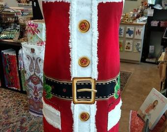 Santa Suit Apron - Reversible Kitchen Apron - Red, White, Black