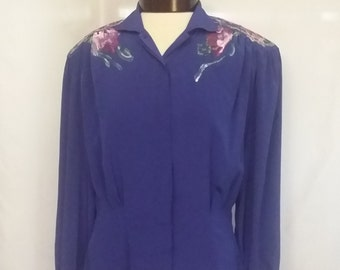 Vintage 80s Evan Picone blouse blue hand painted blouse pink flower blouse vintage clothing womens clothing size 8