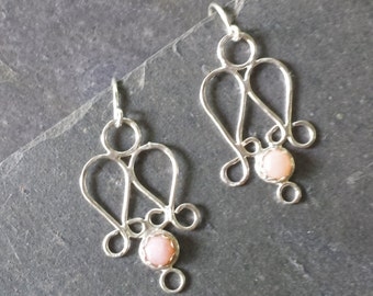 Sterling Silver Pink Opal Earrings
