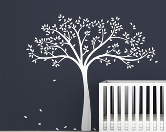White Fall Tree Extended Wall Decal by LittleLion Studio
