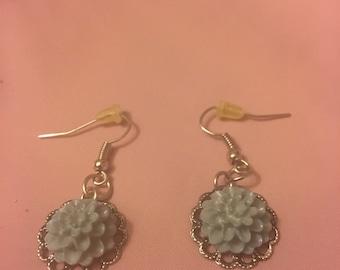 Pastel Blue Flower Earrings
