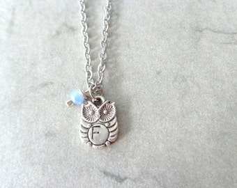 Silver owl pendant necklace, personalized, initials