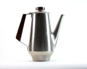 Rogers Insilco Stainless Steel Coffee Teapot with Wood Teak Accent