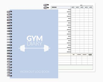 Gym Diary and Workout log book, fitness tracker, cardio, weights, work out journal diary, exercise planner
