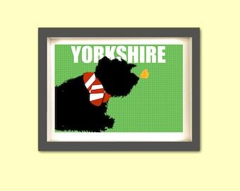 Yorkshire Terrier Art -  fine art print, dog art, dog prints, pet lover, yorkie, yorkshire, terrier, silhouette