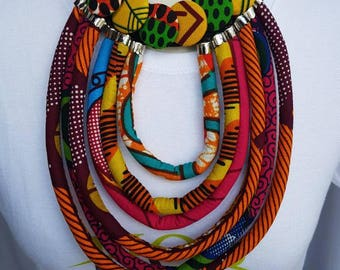 Multi-Layered Rope and button Statement  Necklace