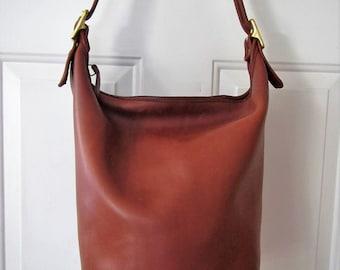 """Vintage COACH 9085 XL British Tan """"Duffle Sac"""" Bucket Feedbag"""