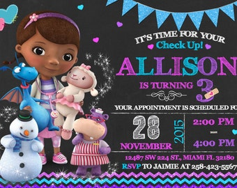 Personalized doc mcstuffins birthday party favor bags doc doc mcstuffins invitation birthday doc mcstuffins party filmwisefo Images