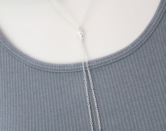 Sterling silver Heart lariat necklace
