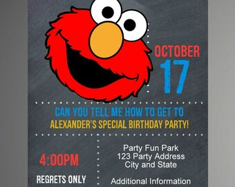 EDITABLE TEXT Elmo Sesame Street Birthday Invitation -  Elmo Sesame Street Party Invites -  Elmo Sesame Street Invite -Instant Download