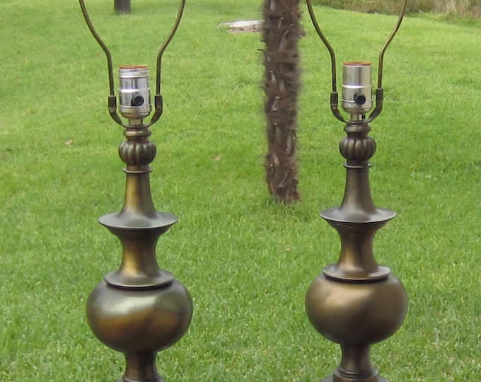 Pair of Mid-Century Brass Table Lamps