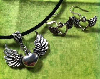 Winged Heart Necklace and Earring Set