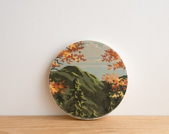 Paint by Number Circle Art Block 'Mountain Fall' - autumn scenery, vintage art