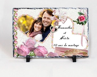 Slate decorative wedding, anniversary wedding with your photo to choose