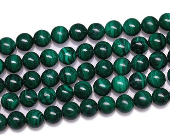 Natural Malachite, Natural Stone Beads, Malachite Beads, Round Beads, Semi Precious, Gemstone Beads, 4 6 8 10 12 14 16 18 mm, (CB007)