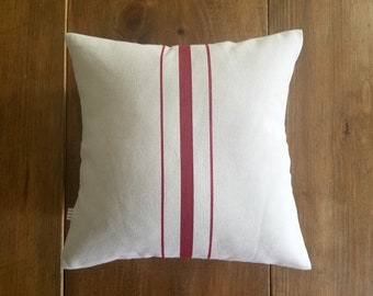 clearance / red stripe grainsack pillow / sale / 12x12