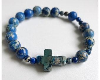 Blue Ocean Jasper Rosary Bracelet / Stretch Rosary Bracelet/ Men's Cross Bracelet