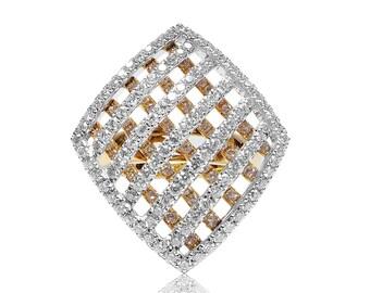 18K Rose Gold Diamond Crisscross Ring