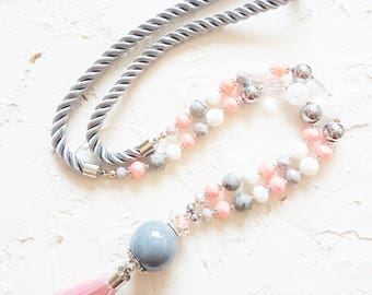 Pink tassel necklace, Long grey necklace, Pastel elegant necklace, Colorful jasper necklace, Coral necklace, Crystal necklace, Women gift