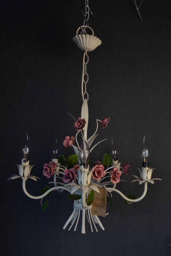 Beautiful painted toleware chandelier with pink flowers