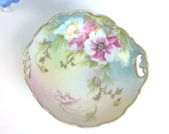 Mother's Day, Gift for momVintage Hand Painted Nippon  ROSES BOWL DISH