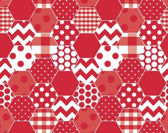 Red & White Fabric, Riley Blake C770-80 Hexi Red, Quilt Fabric, Dots, Chevrons, Checks, Hexagon Print Cotton Fabric