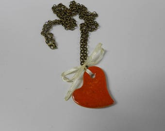 Long necklace, red, ceramic, pendant, heart, bow, white, bronze, for her