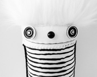 POLKADOTTYDOLL - Black and White Stripe Plush Art Doll Black White Modern Sculpture Crazy Art Doll Soft Sculpture - LYNDA BLACK