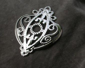 set of 2 pendants filigree silver 6.6 cm